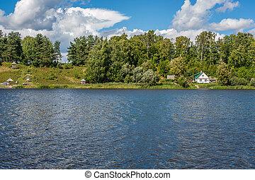 Summer landscape - summer landscape with river lake and...