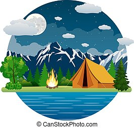 Summer landscape tent and bonfire in mountains near lake....
