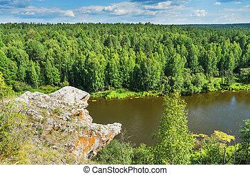 Summer landscape. The Chusovaya River - Beautiful landscape...