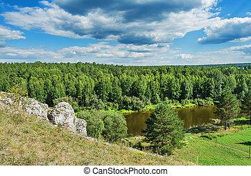 Summer landscape. The Chusovaya River - Beautiful summer ...