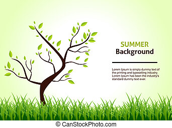 Summer Landscape. Tree on a Background of Green Grass. Vector Illustration.