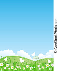 Summer landscape. Vector illustrati - Sunrise. Green meadow...