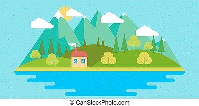 Summer landscape. Vector illustration in flat design style.