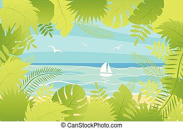 Summer landscape Vector illustration in flat style