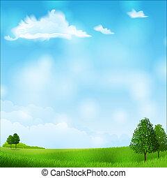 Summer landscape - Vector illustration - summer landscape -...