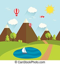 Summer landscape, vector illustration.