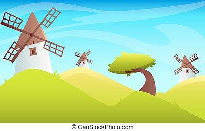 Summer landscape Windmill