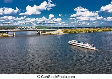 BERDSK, Novosibirsk Region, Western Siberia of Russia - July 28, 2021: Highway and railway bridge over the Berd River in summer