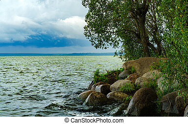 Summer landscape with a lake.