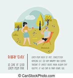 Summer Landscape with Active People Relaxing in Park Day. Healthy Lifestyle Poster, Banner, Invitation. Vector illustration