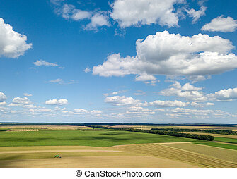 Summer landscape with agricultural fields, harvesting on a backgground of the blue sky and white clouds in a sunny day. View from drone.