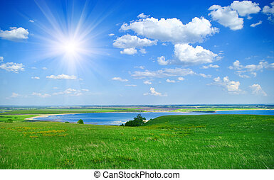 landscape with blue lake