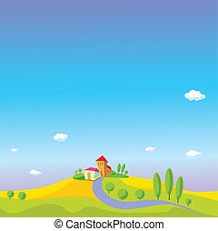 summer landscape with blue sky, white clouds, green grass, trees, small houses, way and yellow field