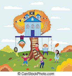 Summer landscape with children play around tree house, flat vector illustration.