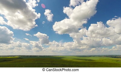 summer landscape with cloudy sky, timelapse