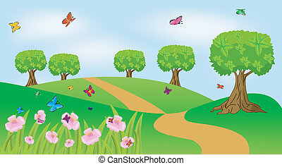summer landscape with flowers and butterflies, vector ...