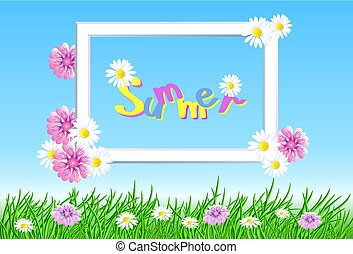 Summer landscape with frame in the sky, meadow flowers and grass