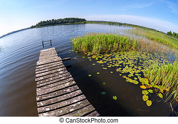 Summer landscape with lake and wooden bridge
