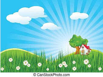 Summer landscape with little house
