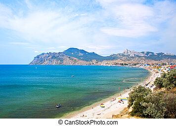 Summer landscape with mountains and sea. Koktebel, Crimea, Ukraine