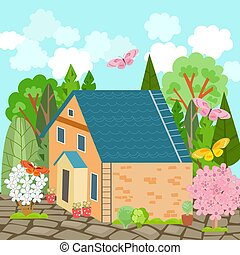 summer landscape with nice brick house and butterflies flying ar