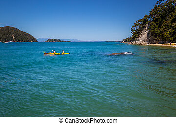 Summer landscape with people kayaking in a yellow kayak in clear turquoise ocean waters next to the beach, Kaiteriteri area, Abel Tasman National Park, New Zealand