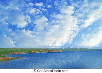 lake and cloudy sky