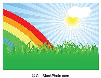 Summer landscape with rainbow. Vector illustration.