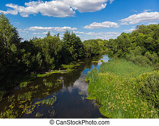 Summer landscape with river in Russia