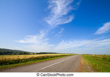 Summer landscape with rural road and cloudy sky