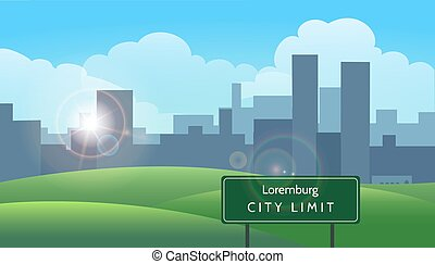 Summer landscape with sky meadows and road sign City Limit