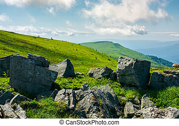 summer landscape with stones on the hill - huge rocky...