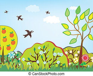 Summer landscape with trees cartoon