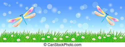 Summer landscape with two dragonflies in the sky and meadow flowers