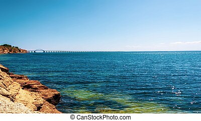 summer landscape with views of the black sea and the Crimean bridge
