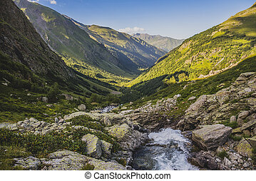 Summer landscape with waterfall on Imeretinka river in the...