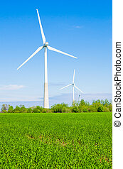 Summer landscape with wind generators