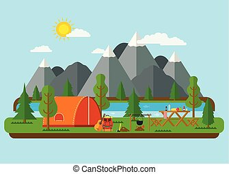 Summer landscapes. Picnic barbecue with tent in mountains near a river. Hiking and camping.