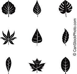 Summer leaf icons set, simple style