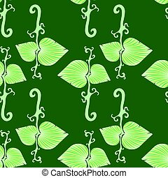 Summer Leaves Isolated on Green Background. Seamless Floral Pattern