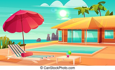 Summer leisure on tropical resort cartoon vector - Luxury...