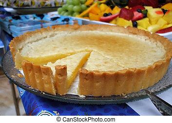 Summer Lemon Pie - Lemon Tart with Fruit Salad Behind:...