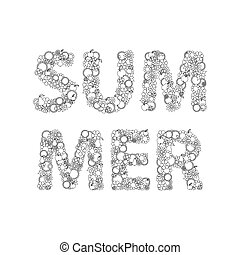 Summer Lettering Made Of Hand Drawn Flowers, Fruits, Leaves, Doodles