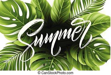 Summer lettering on palm leaf background. Vector illustration