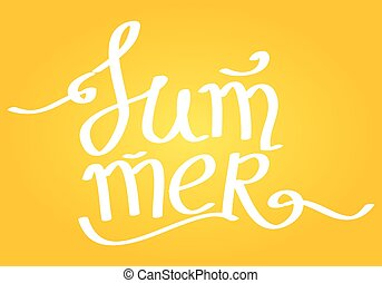 Summer Lettering on yellow background