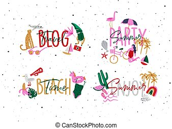 Summer lettering set vivid color