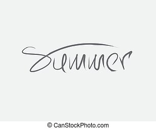 summer lettering text on white background in vector illustration