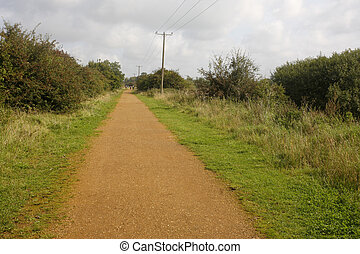 Summer Leys nature reserve, Track of old railway at rear of ...