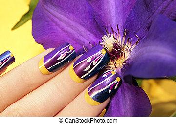 Summer lilac yellow nail design.