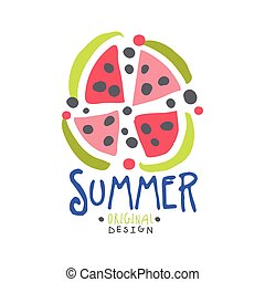Summer logo template original design, colorful hand drawn vector Illustration with watermelon